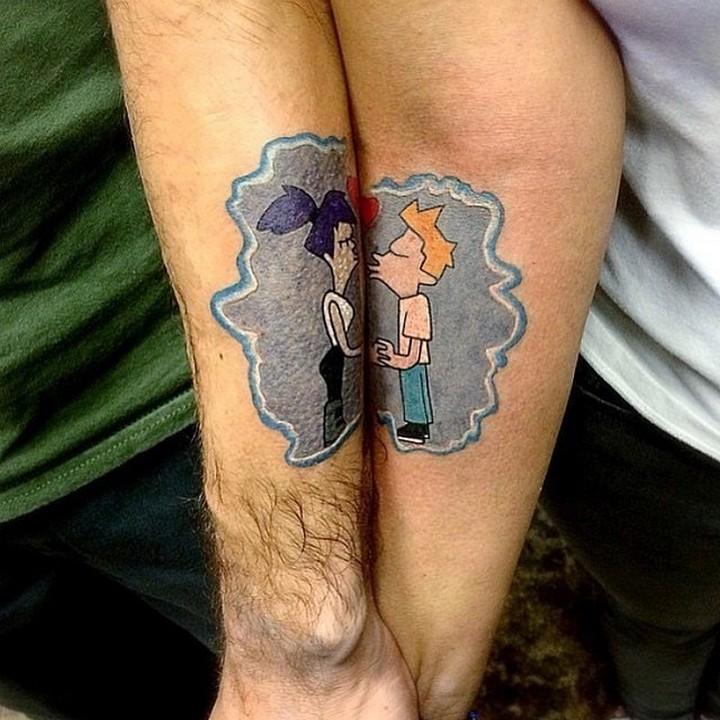 35 couple tattoos - Futurama couple tattoos.