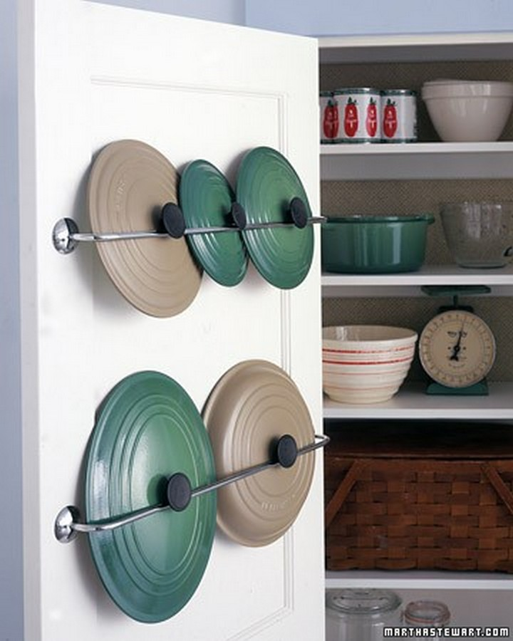 46 Useful Storage Ideas - Install towel racks inside your cupboards to store pot covers and lids.