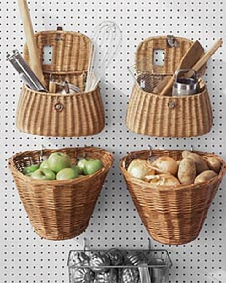 46 Useful Storage Ideas - Secure hanging baskets onto a peg board to hold kitchen supplies or vegetables.