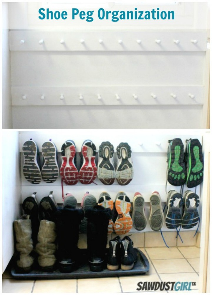 46 Useful Storage Ideas - Keep shoes and sandals organized with shoe pegs.
