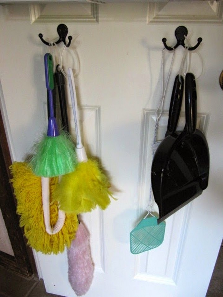 46 Useful Storage Ideas - Add double hooks to organize your dusters and dustpans.