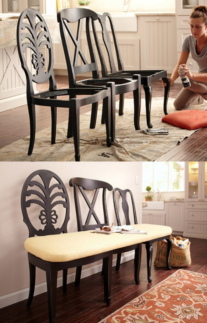 Transform three mismatched chairs into an elegant dining room bench.