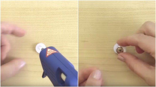 How to make weird slime - Step 2: With a hot glue gun, apply glue on the backside of a wiggle eye and attach another wiggle eye to make 'eyeballs'.