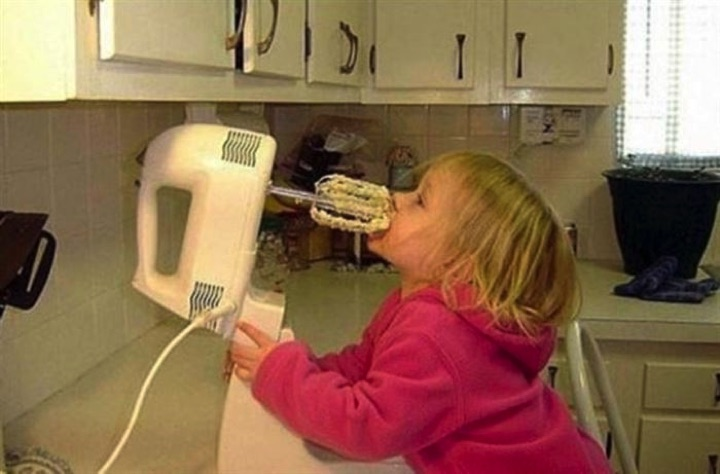 34 Parenting Fails - How not to lick the cake batter from the mixer beaters. Fail!