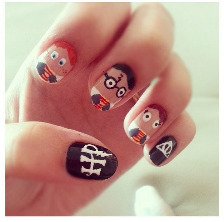 13 Book-Inspired Nail Art Designs - Harry Potter by J. K. Rowling