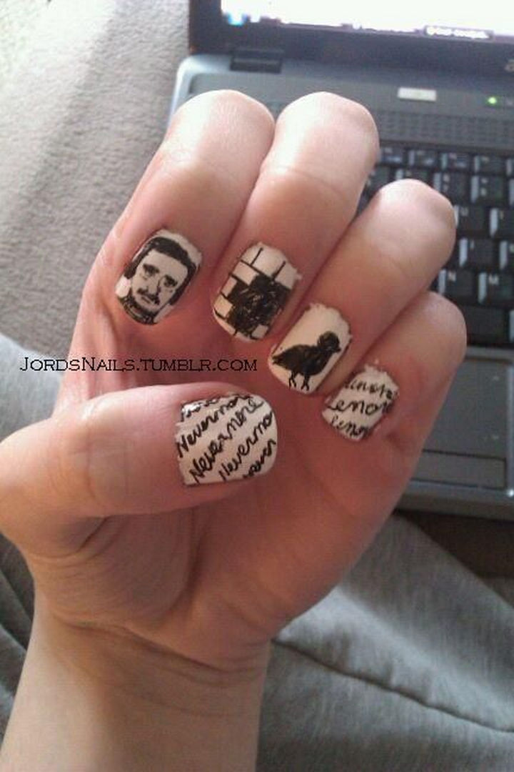 13 Book Inspired Nail Art Designs The Raven By Edgar Allan Poe