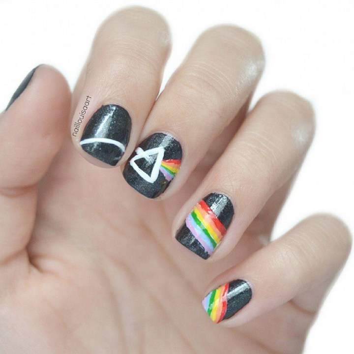 "18 Music Nails - ""Dark Side Of The Moon"" nails."