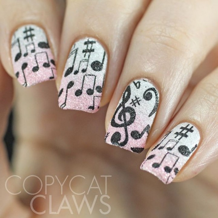 18 Music Nails - Classy musical nails.
