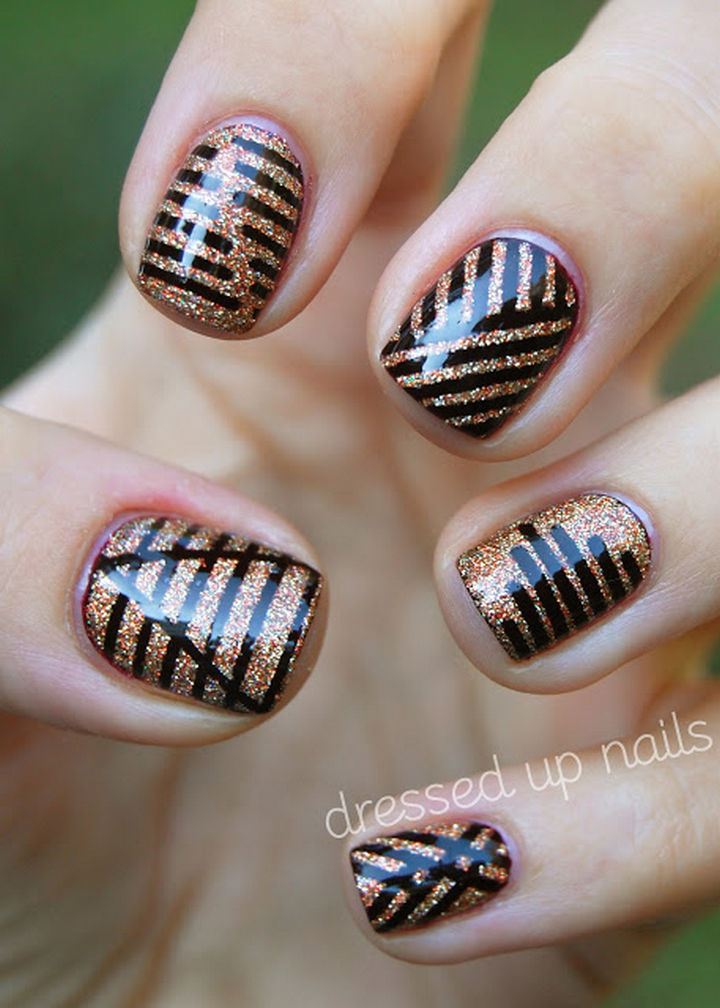 18 Striped DIY Nail Designs - Sharp dressed nails.