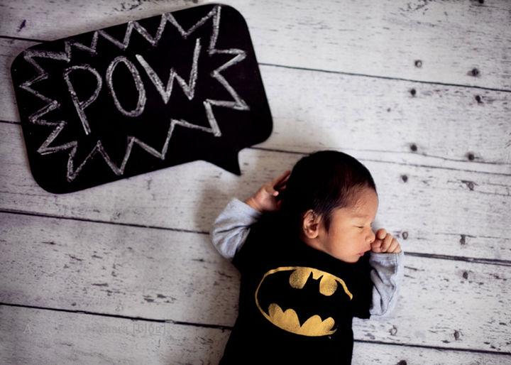 37 Newborns Wearing Geek Baby Clothes - Baby Batman...POW!