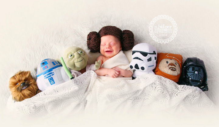 37 Newborns Wearing Geek Baby Clothes - Baby Princess Leia and the Star Wars Universe.