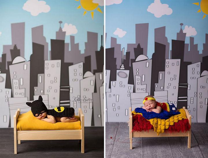 37 Newborns Wearing Geek Baby Clothes - Baby Batman and Baby Wonder Woman.
