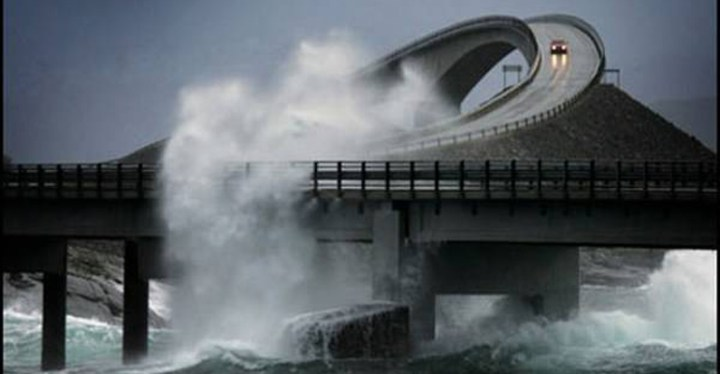 A dangerous drive through Norway's Atlantic Ocean Road., one of the most dangerous roads in the world.