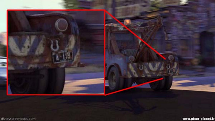 Disney and Pixar 'A113 Easter Egg - The license plate number of Mater in Cars.