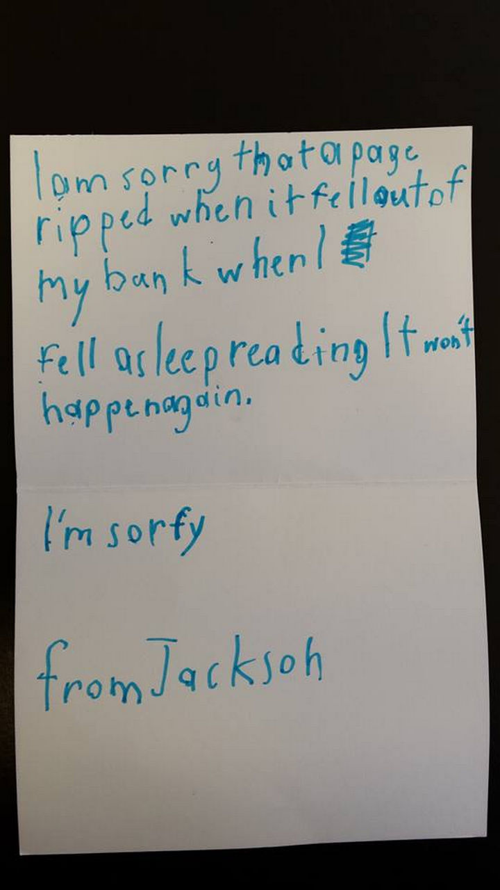 Toronto Boy Write Apology Letter to Library for Ripped Page.