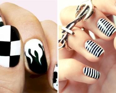 13 Black and White Nail Art Designs.