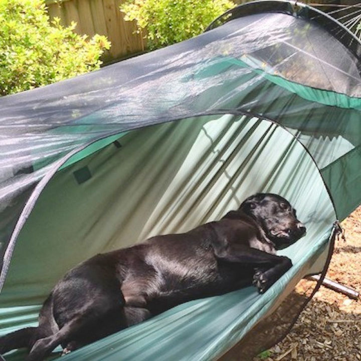It's so comfortable that other family members might decide to take a nap in your tent.