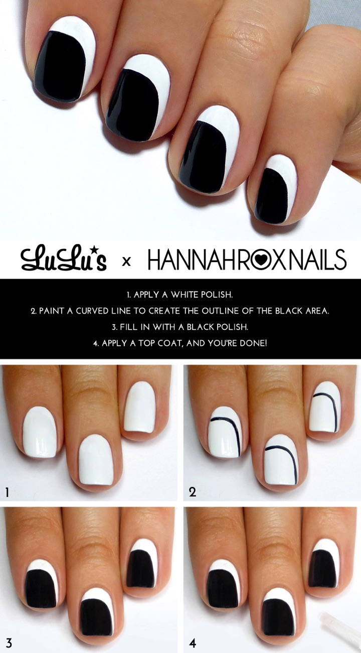 13 Easy Nail Designs - Create a simple asymmetrical crescent.