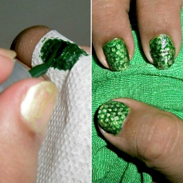 13 Easy Nail Designs - Create a 'snake skin' effect using paper towels.
