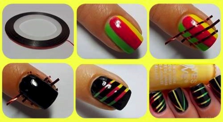 13 Easy Nail Designs - Colorful rays of light using striping tape.