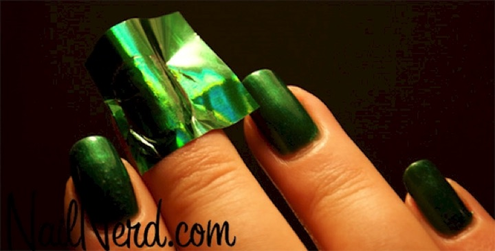 13 Easy Nail Designs - Use foil for a super shiny effect.