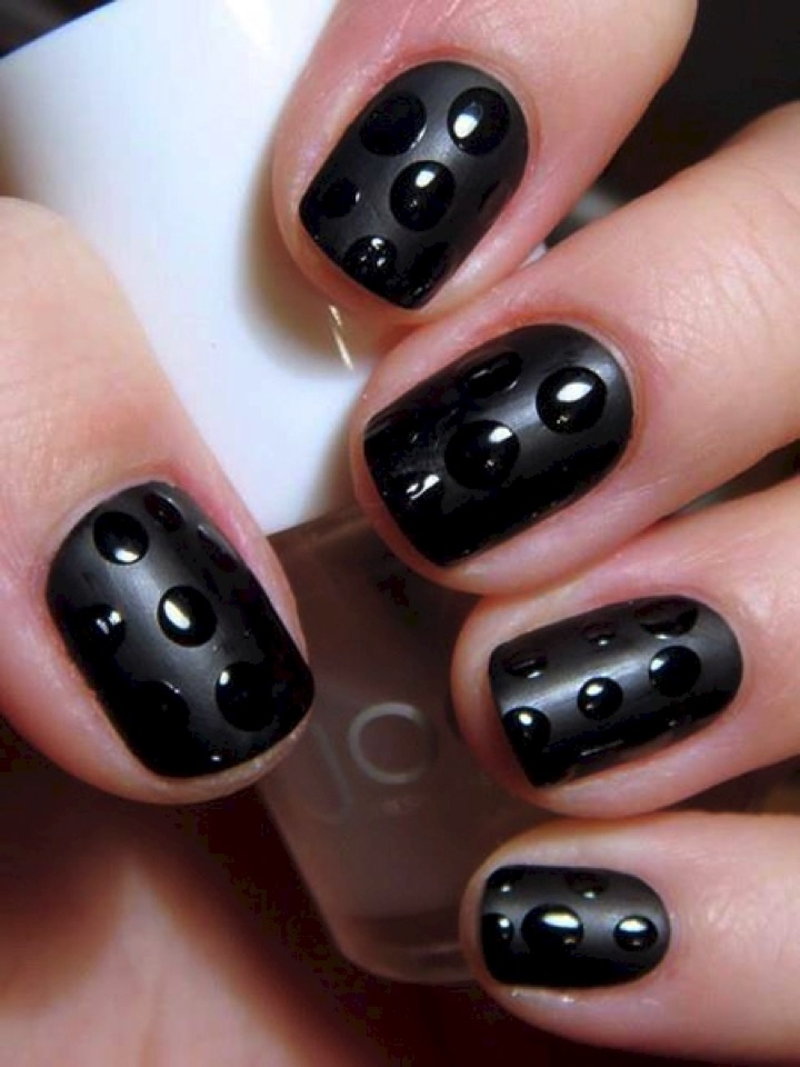 13 Easy Nail Designs - Create a cool 'water droplets' effect.