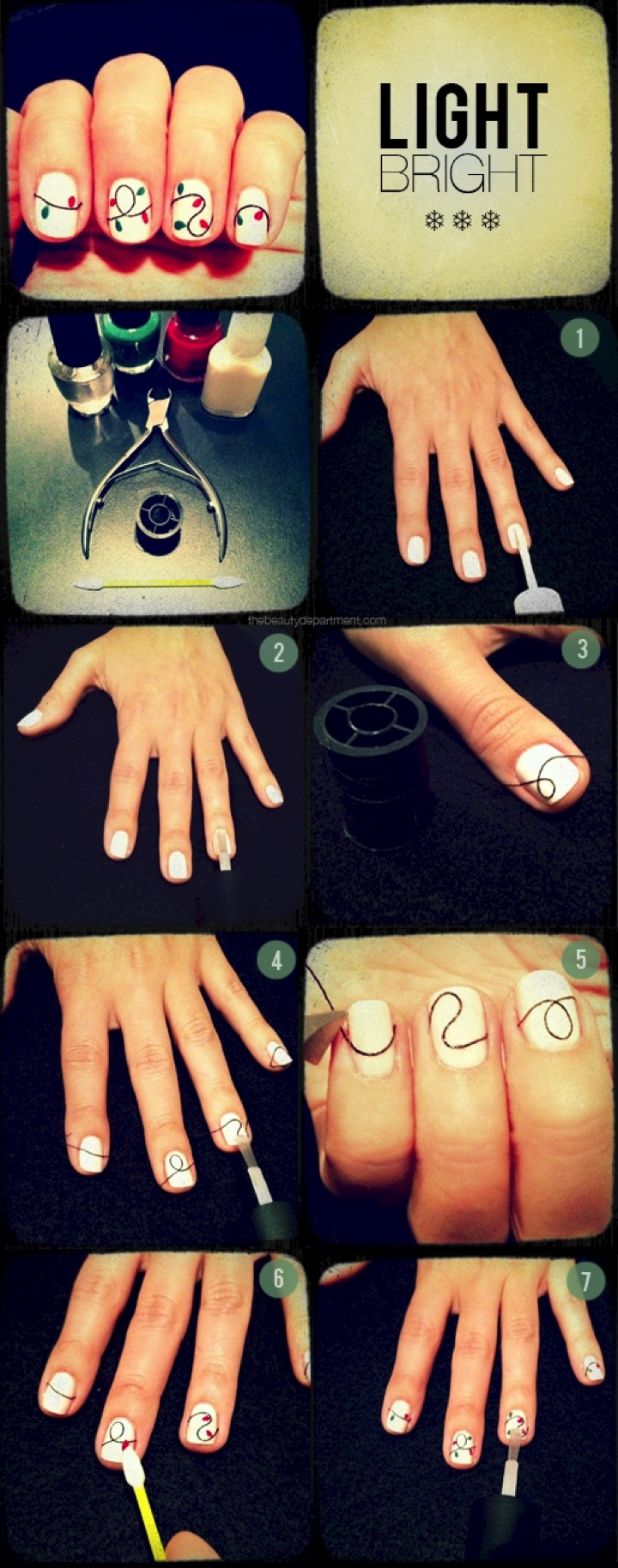 13 Easy Nail Designs - Get into the festive spirit with a cute Christmas lights mani.