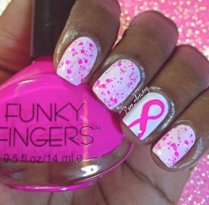 19 Breast Cancer Nails - A pretty nail art design.