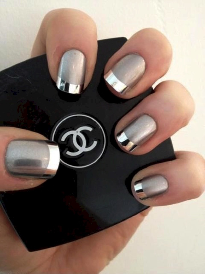 20 Metallic Nails - Another great tip on the French manicure with silver metallic polish.
