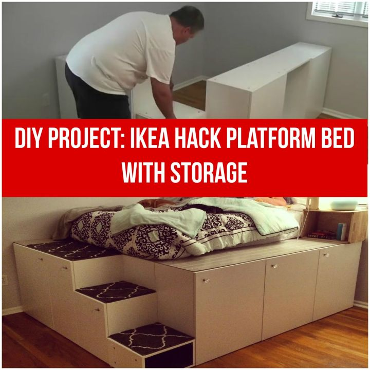 IKEA Hack DIY Platform Bed With Storage From IKEA Kitchen Cabinets.