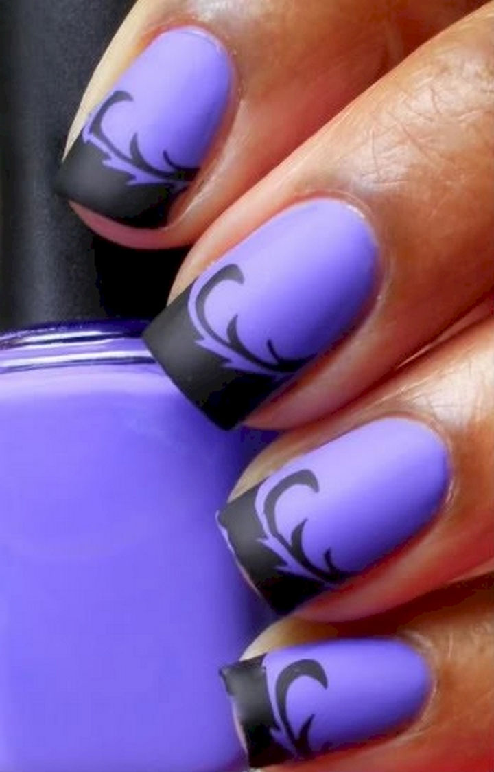 22 Purple Nail Designs - An awesome matte etching.