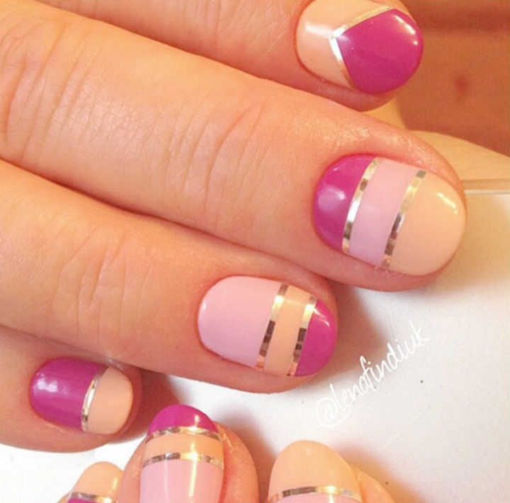 17 Rose Pink Nails - Modern striped pink nails.