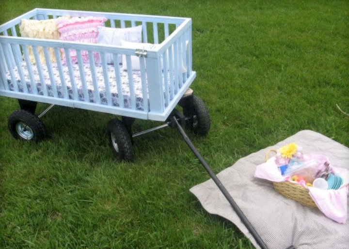 "19 Ways to Repurpose Baby Cribs - Create a ""Pull-a-Picnic"" wagon."