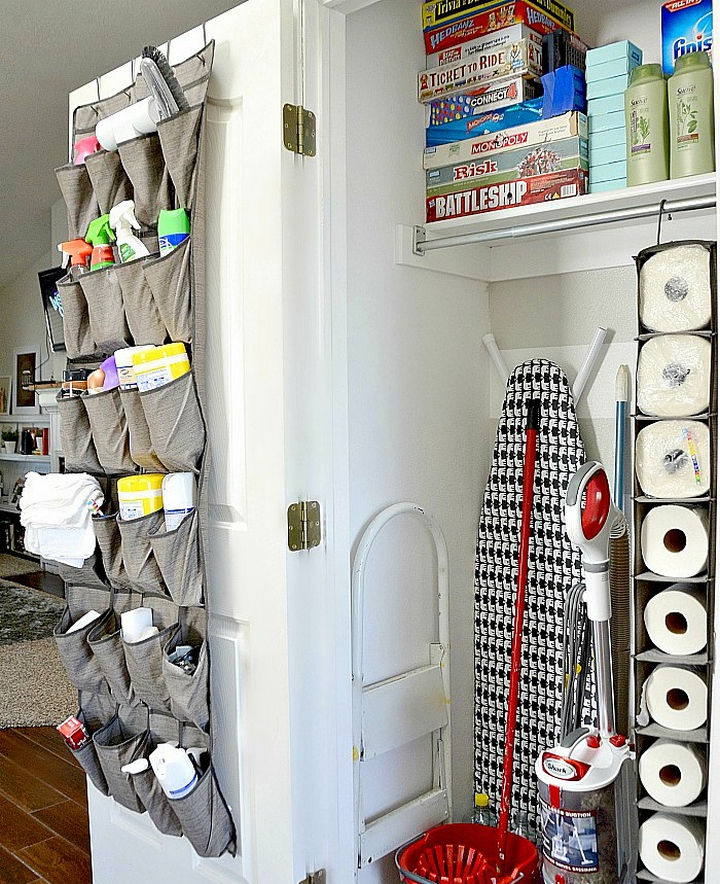 21 Clever Shoe Organizer Ideas - Clean up your cleaning supply closet.
