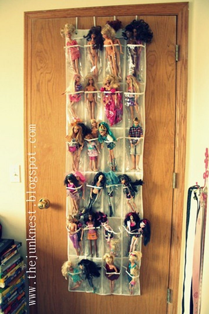 21 Clever Shoe Organizer Ideas - Store all your child's Barbies.