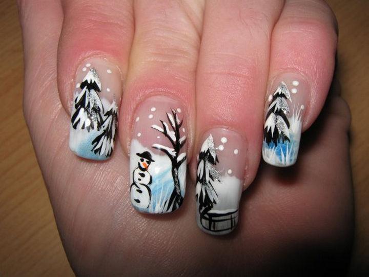 39 Winter Nails - Winter scene nails.