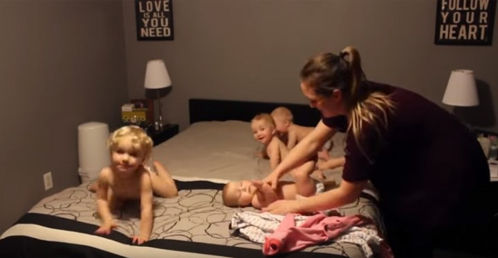 Super Mom Gets Her Triplets and Toddler Ready for Bed.