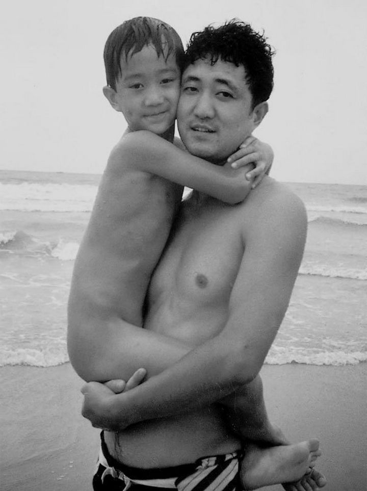 Father takes photo with his son every year. This one was taken in 1992