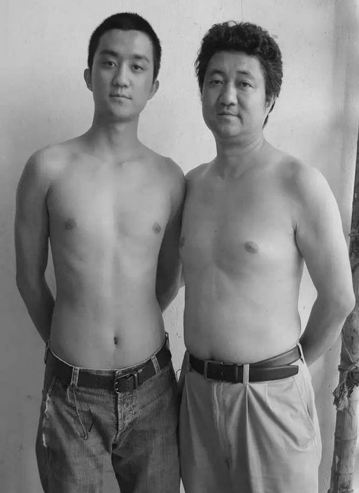 Father takes photo with his son every year. This one was taken in 2008.