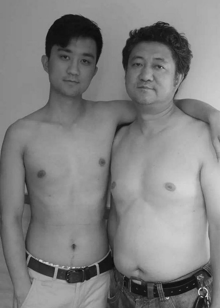 Father takes photo with his son every year. This one was taken in 2012.