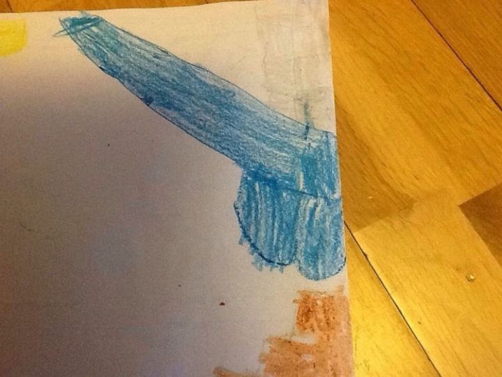 35 Funny Drawings from Kids - A blue waterfall.