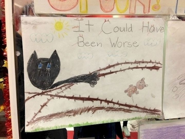 35 Funny Drawings from Kids - I don't think it ended well for the cat.