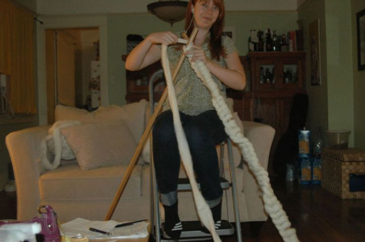 """She originally created """"knitting needles"""" with broomsticks but found the gauge was too tight."""