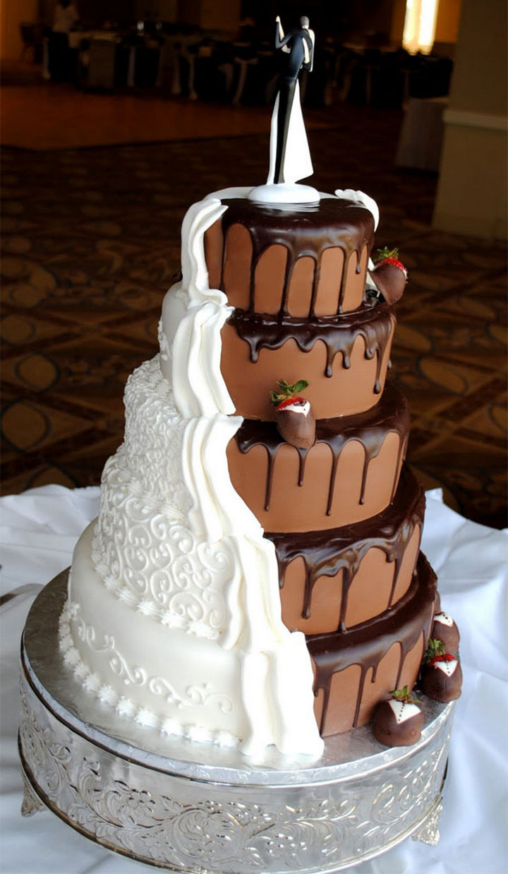 12 Him and Her Wedding Cake Ideas - Lovers of chocolate and vanilla together as one.