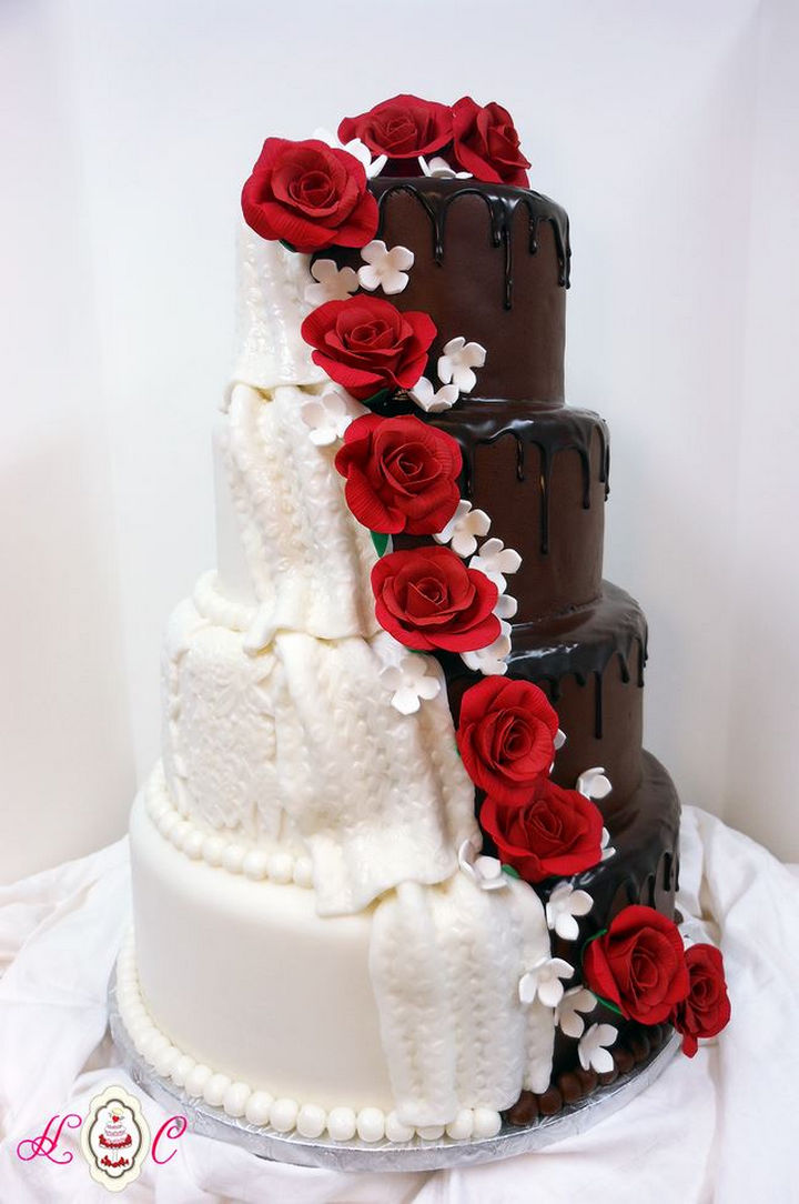 12 Him and Her Wedding Cake Ideas - Red sugar roses unite this bride and groom cakes into one.