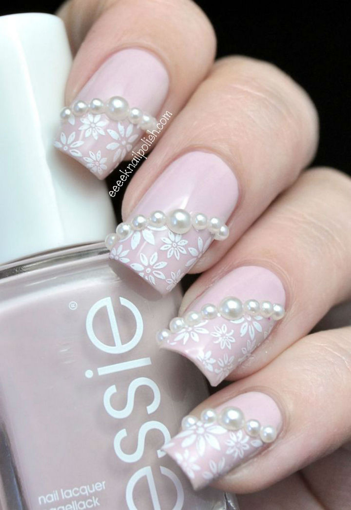 18 Perfect Wedding Nails - Beautiful pearls and lace.