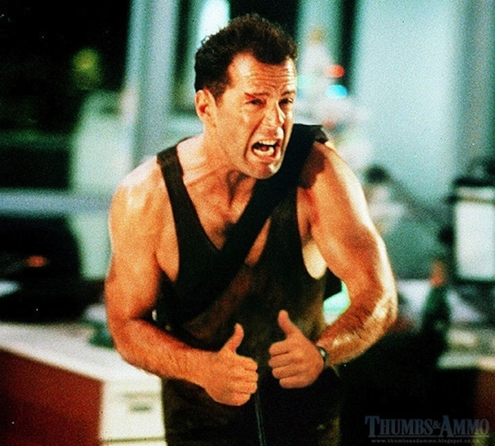 23 Movie Action Scenes Where Guns Were Replaced with a Thumbs-Up - 'Die Hard'