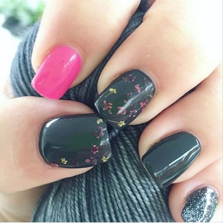 18 Spring Nails - Spring nails with dried flower accents.