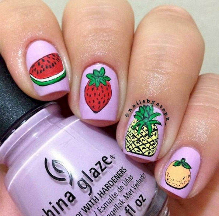 17 Fruit Nails - Creative fruit nail art.