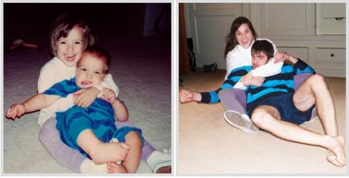 23 Then Now Photos - His sister is still giving him tight hugs after all these years!